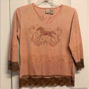 Natural Reflections Blouse Size M Horse Print